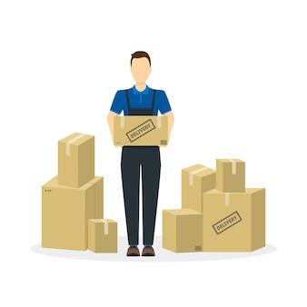 Trabalhador de serviço de entrega e caixa de papelão uniformizado