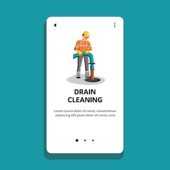 Trabalhador de serviço de limpeza e reparo de drenos
