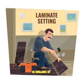 Trabalhador de serviço de piso laminado,