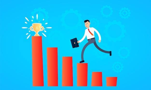 Trabalhador de sucesso a caminho de atingir a meta