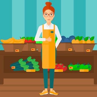 Trabalhador de supermercado amigável