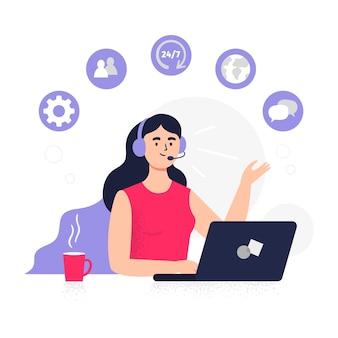 Trabalhador de suporte ao cliente em design plano