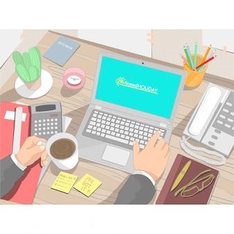 Trabalhador de tabela de negócios