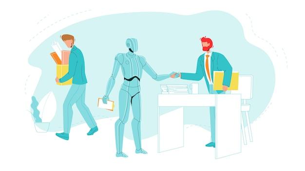 Trabalhador demitido deixa o escritório com suprimentos