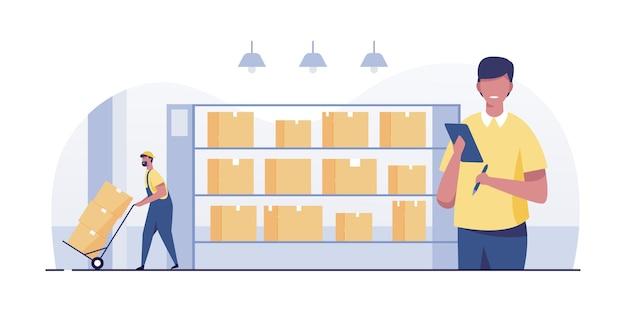 Trabalhador do armazém verificando a lista de caixas de armazenamento.