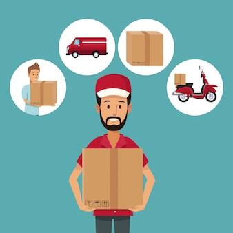 Trabalhador do meio homem do corpo com pacote e ícones entrega rápida