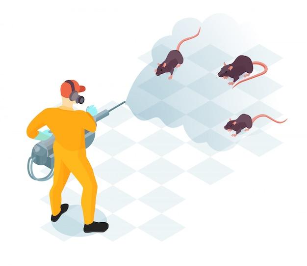 Trabalhador do serviço de controle de pragas com equipamento profissional durante a desinfecção doméstica de ilustração vetorial isométrica de roedores