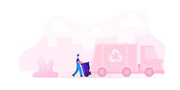 Trabalhador do serviço municipal de reciclagem vestindo uniforme carregando a lixeira para o caminhão de lixo para transporte na fábrica de reciclagem.