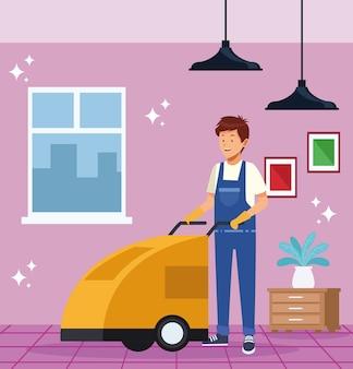 Trabalhador doméstico com carrinho de banheiro
