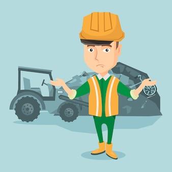 Trabalhador e escavadora na lixeira.