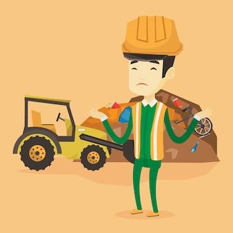 Trabalhador e escavadora no depósito de lixo.
