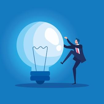 Trabalhador elegante empresário escalando bulbo personagem ilustração vetorial design