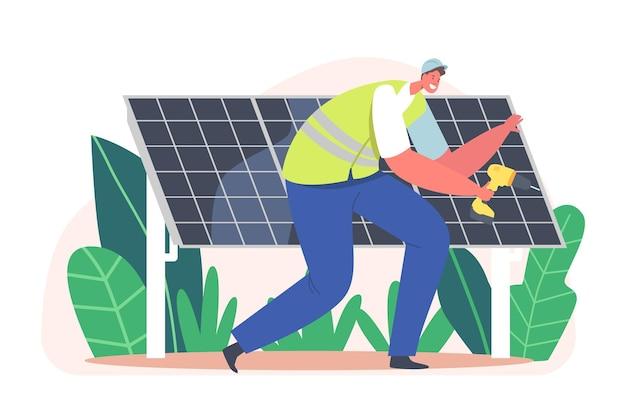 Trabalhador eletricista instalando painéis solares, conceito de energia limpa alternativa com personagem de engenheiro com instrumento. fontes de energia renováveis, inovação técnica. ilustração em vetor desenho animado