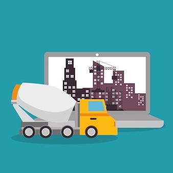 Trabalhador em construção com laptop