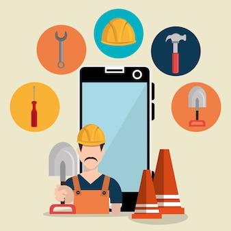 Trabalhador em construção com smartphone