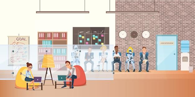 Trabalhador, em, saco feijão, cadeira, com, laptop, ligado, coworking