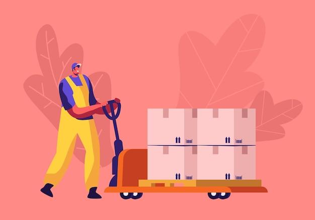 Trabalhador em uniforme, condução de caminhão de mão com pilha de caixas de papelão com código de barras e sinais de seta. ilustração plana dos desenhos animados