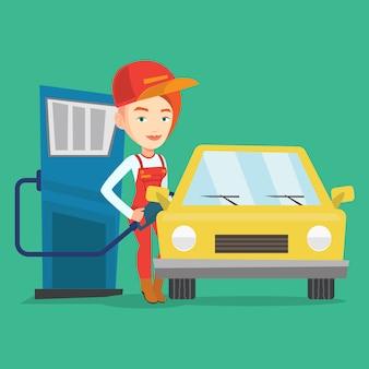 Trabalhador, encher combustível no carro.