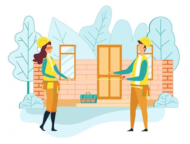 Trabalhador engenheiro construir casa espera fita métrica