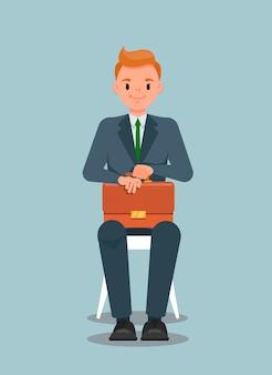 Trabalhador escritório, com, pasta, sentando, ilustração