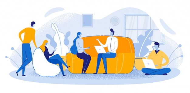Trabalhador escritório escritório sala reunião pessoas sentar sofá falando