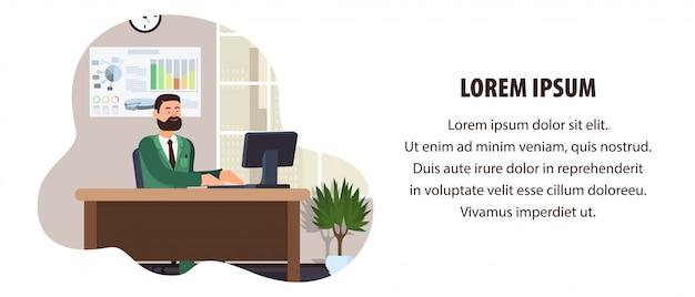 Trabalhador escritório, sentando, tabela, ilustração