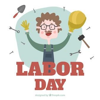 Trabalhador feliz que comemora o dia do trabalho