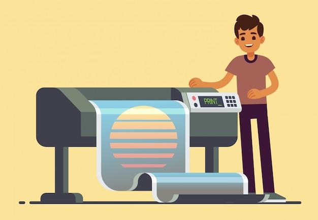 Trabalhador homem, em, plotter, imprimindo, ilustração