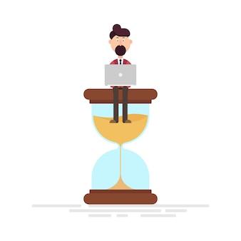 Trabalhador homem sentado em uma ilustração de ampulheta
