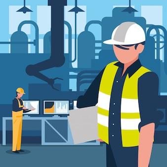 Trabalhador industrial em caráter de fábrica
