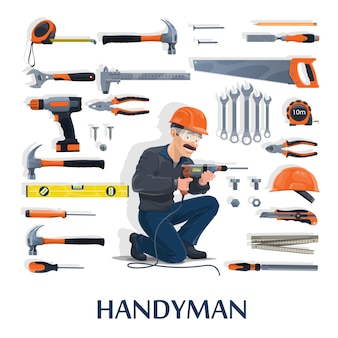 Trabalhador manual com desenho de ferramentas de trabalho da indústria da construção, reparação e renovação de casas. personagem do homem construtor com chaves de fenda, martelos e broca, capacete, alicate, chave inglesa ou chave inglesa