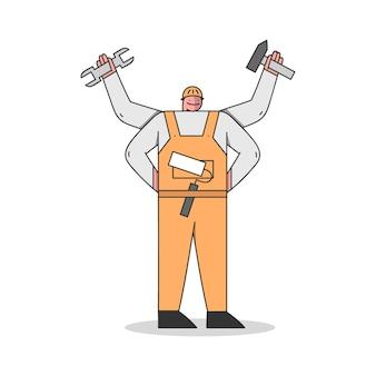 Trabalhador manual com muitas mãos com ferramentas