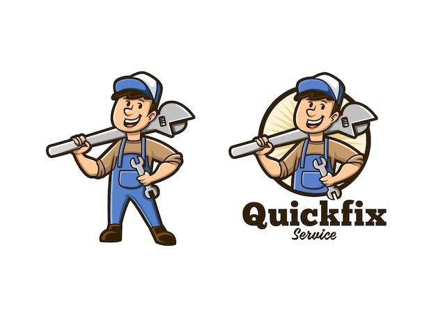 Trabalhador manual quick fix service mascot logo
