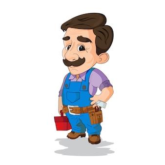 Trabalhador manual vestindo roupas de trabalho e um cinto com ferramentas