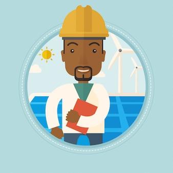 Trabalhador masculino da usina de energia solar e parque eólico