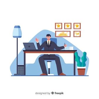 Trabalhador masculino dos desenhos animados, sentado na mesa