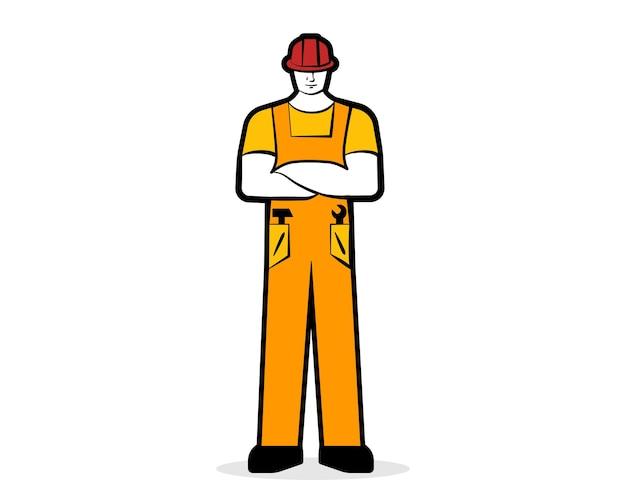 Trabalhador masculino ou construtor em roupas de trabalho e vetor de conceito de trabalho de capacete de construção