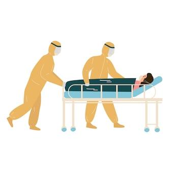Trabalhador médico desgaste hazmat terno está carregando paciente covid1-9