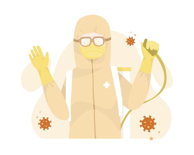 Trabalhador médico usa caráter de equipamento de proteção pessoal