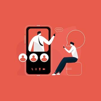 Trabalhador na reunião virtual coletiva e videoconferência do grupo, chamada de vídeo no conceito móvel, ilustração moderna comunicação móvel