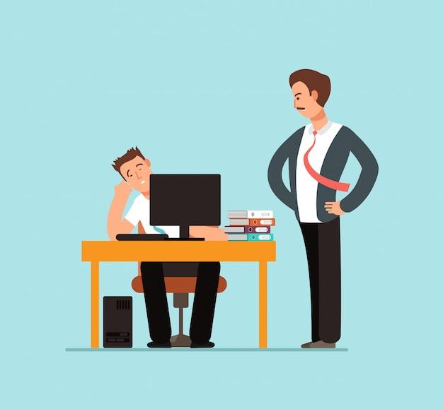 Trabalhador preguiçoso entediado na mesa atrás de computador e chefe zangado em ilustração de escritório