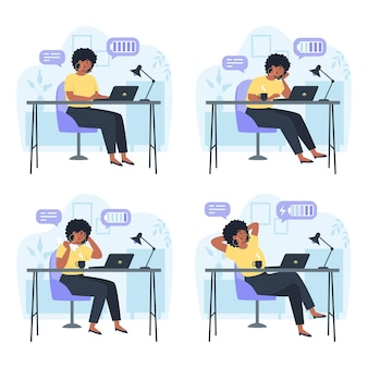 Trabalhador produtivo e trabalhador cansado, produtividade durante a jornada de trabalho, estresse ou esgotamento