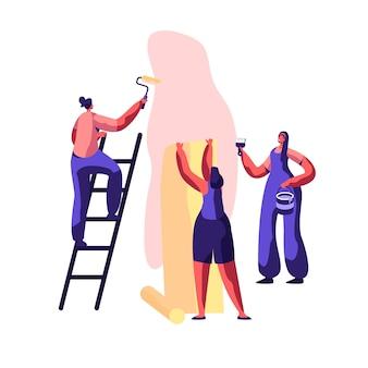 Trabalhador profissional de serviço de reparo para trabalhos de renovação. workman smear wall glue com pincel. mulher cola papel de parede home. artesão na escada segure o rolo de pintura na mão. ilustração em vetor plana dos desenhos animados