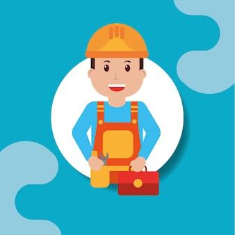 Trabalhador, repairman, segurando, toolkit, profissional, retrato
