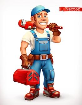 Trabalhador. reparador, personagem alegre. ícone 3d