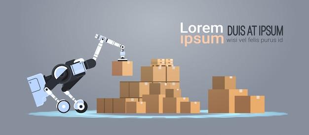 Trabalhador robótico carregando caixas de papelão hi-tech fábrica inteligente armazém logística automação tecnologia conceito moderno robô cartoon personagem cópia plana espaço horizontal