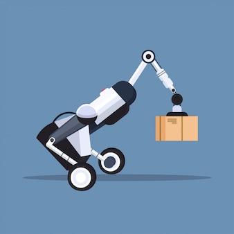 Trabalhador robótico, carregando caixas de papelão oi-tech inteligente fábrica robô inteligência artificial logística automação tecnologia conceito