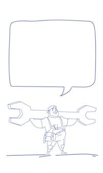 Trabalhador, segurando a chave grande bate-papo bolha dia do trabalho esboço doodle