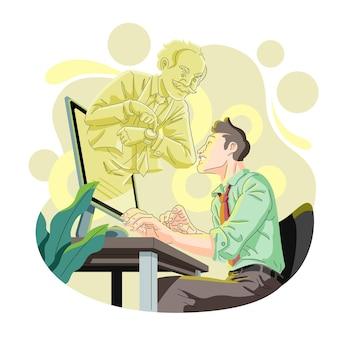 Trabalhador sendo repreendido pelo chefe por causa do prazo perdido na ilustração de trabalho