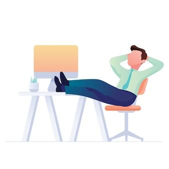 Trabalhador sentado e sonhando em seu escritório